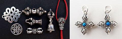 チベット密教法具のシルバーアクセサリーパーツ